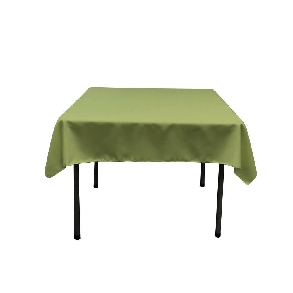 52 in. x 52 in. Dark Sage Polyester Poplin Square Tablecloth