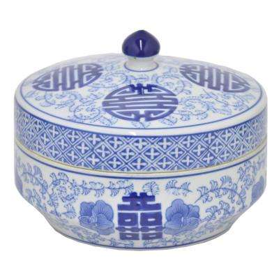 Ceramic Blue and White Jar with Lid