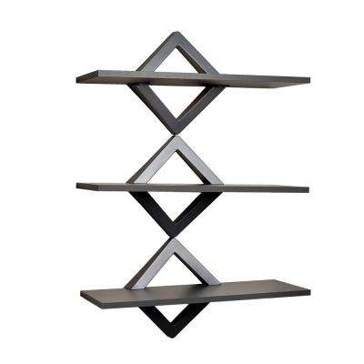 Contempo Diamonds 27.5 in. W x 40 in. H Pewter Gray Three Level Shelving System