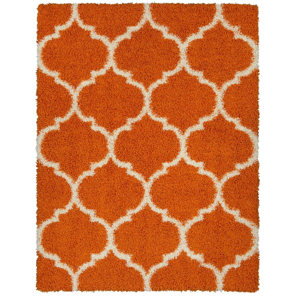 rug itm plain orange contemporary carpet soft fluffy area warm shaggy modern