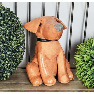 Brown Polyurethane Leather and Cotton Dog Door Stopper