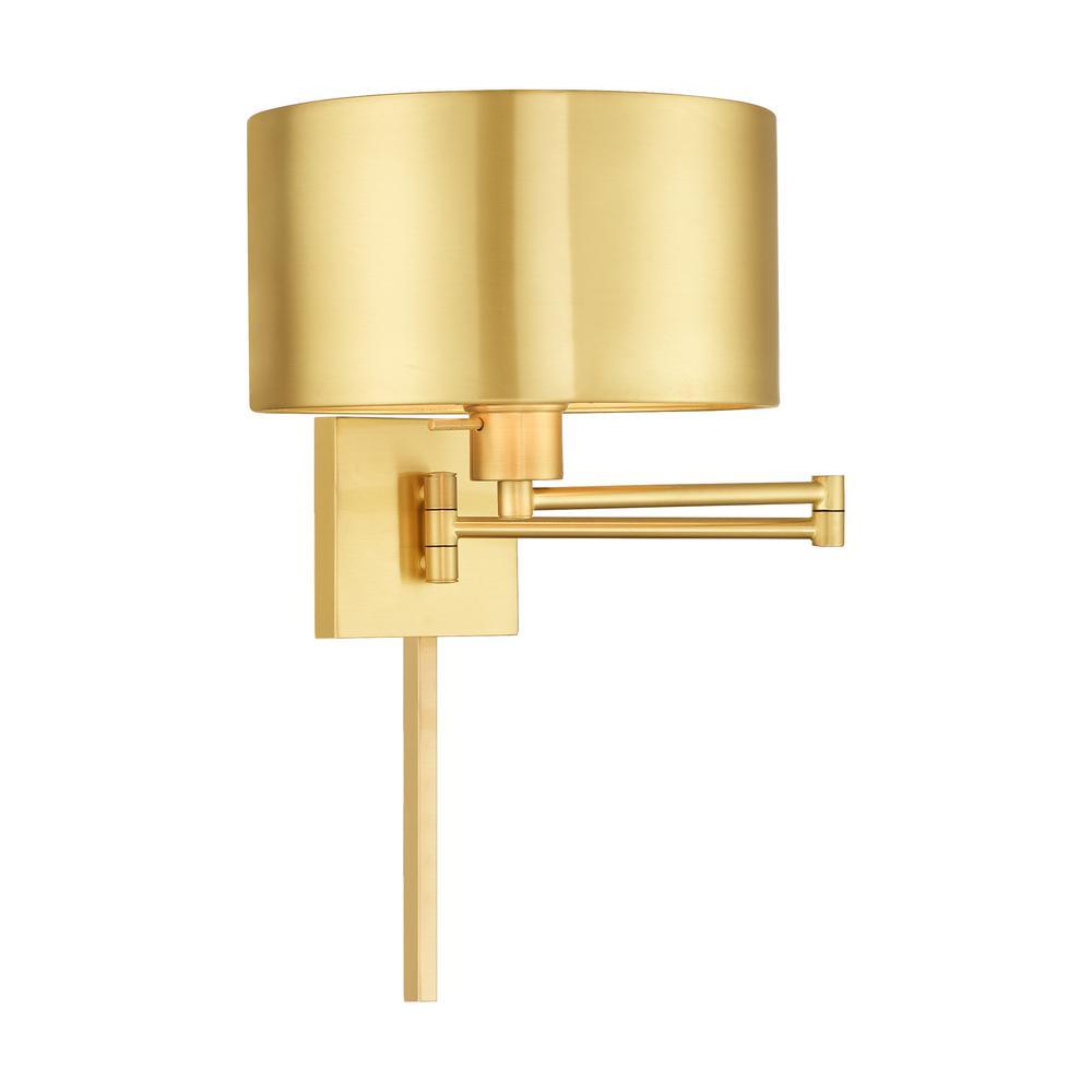 1-Light Satin Brass Swing Arm Lamp