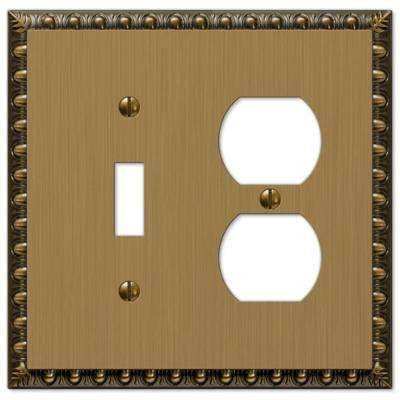Renaissance 1 Toggle and 1 Duplex Wall Plate - Brushed Brass