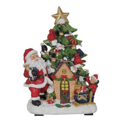 9.5 in. Christmas Santa with Tree House Garden Decor