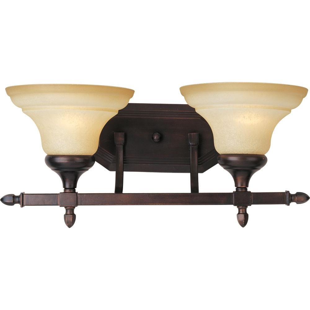 Oriax 2-Light Oil Rubbed Bronze Bath Vanity with Wilshire Glass