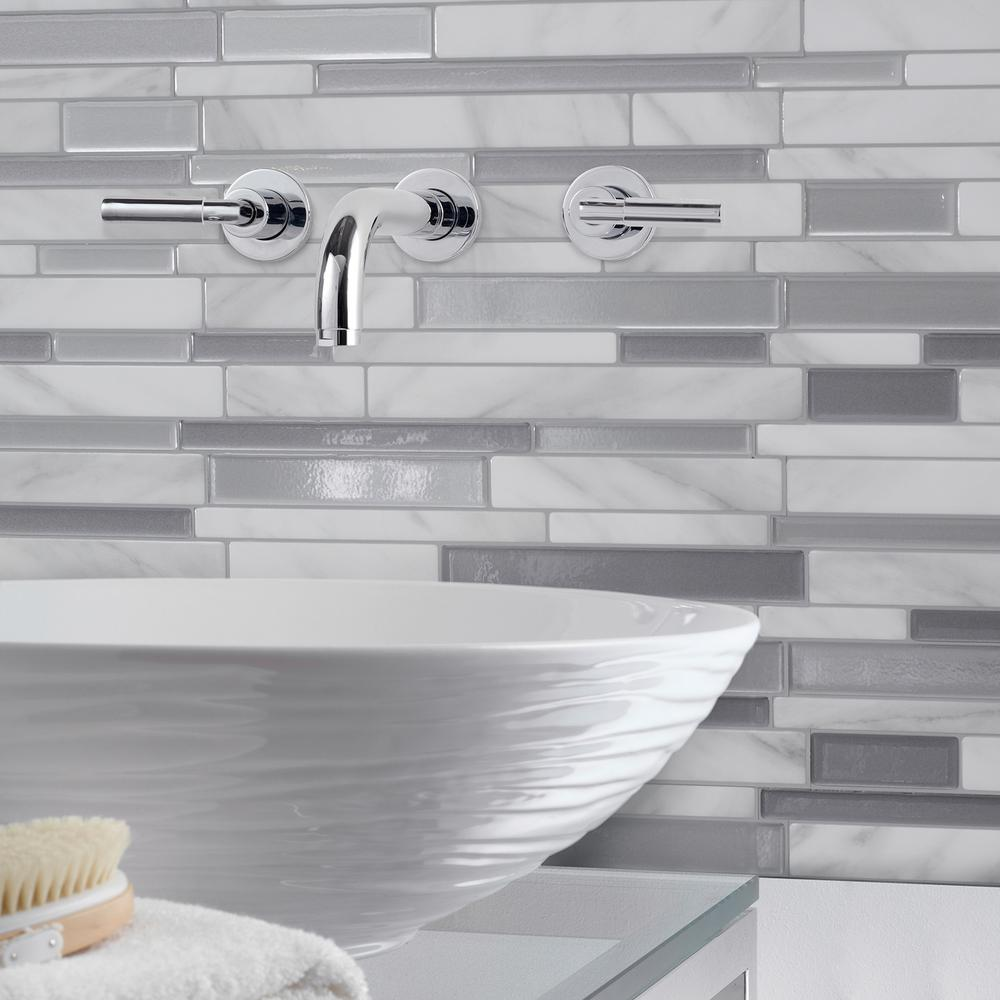 Peel And Stick Backsplash Tiles: Smart Tiles Milano Carrera 11.55 In. W X 9.65 In. H Peel