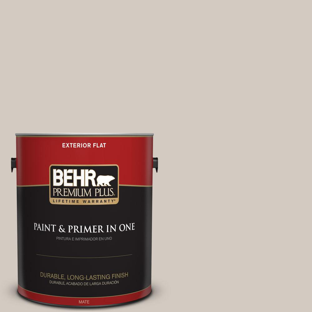 BEHR Premium Plus 1-gal. #N320-2 Toasty Gray Flat Exterior Paint ...