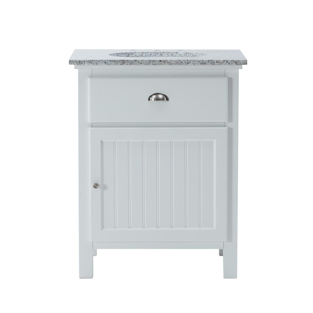 Home Decorators Collection Ridgemore 28 in. W x 22 in. D Bath Vanity in White with Granite Vanity Top in Grey