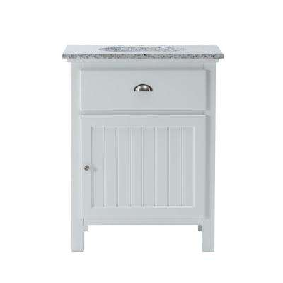 Ridgemore 28 in. W x 22 in. D Bath Vanity in White with Granite Vanity Top in Grey