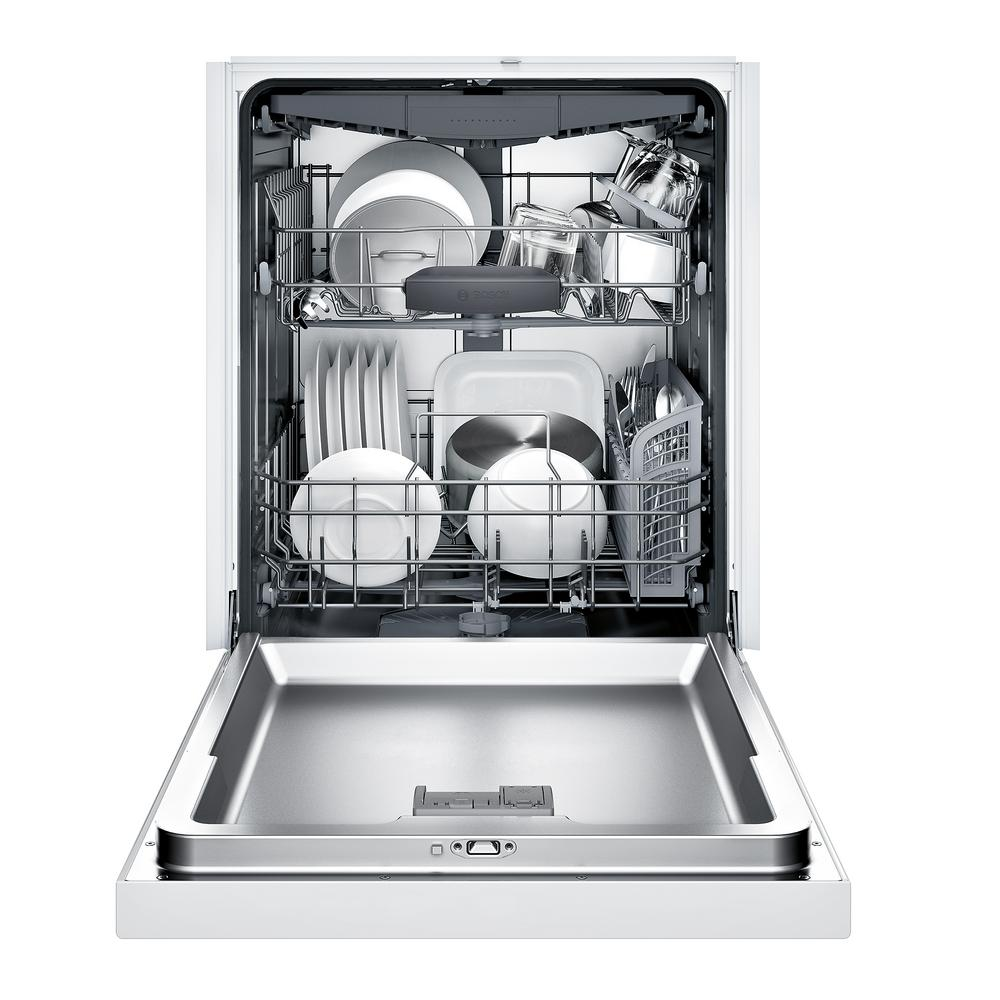 Bosch 300 Series Front Control Tall Tub Dishwasher In White With Stainless Steel Tub And 3rd Rack 44dba Shem63w52n The Home Depot