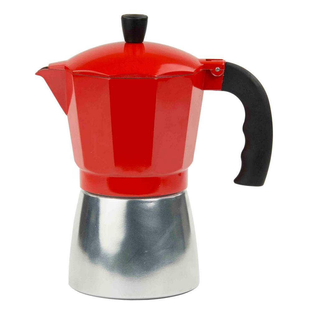 Home Basics Red Aluminum Espresso Maker