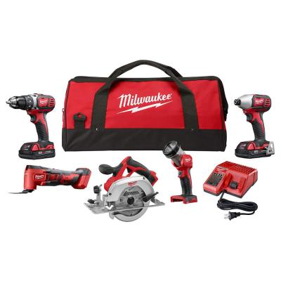 M18 18-Volt Lithium-Ion Cordless Combo Tool Kit (5-Tool) with Two 1.5 Ah Batteries, Charger, Tool Bag