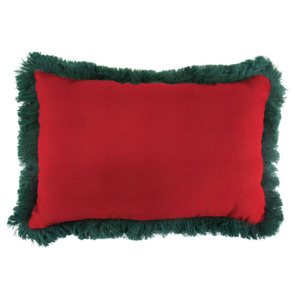 Jordan Manufacturing Sunbrella 19 in. x 12 in. Spectrum Crimson Outdoor Throw Pillow with Forest Green Fringe