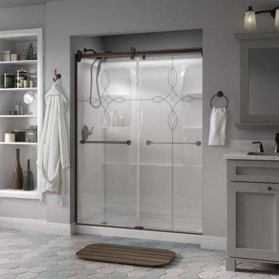 Mandara 60 in. x 71 in. Semi-Frameless Contemporary Sliding Shower Door in Bronze with Tranquility Glass