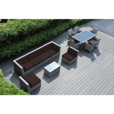 Gray 14-Piece Wicker Patio Combo Conversation Set with Spuncrylic Brown Cushions
