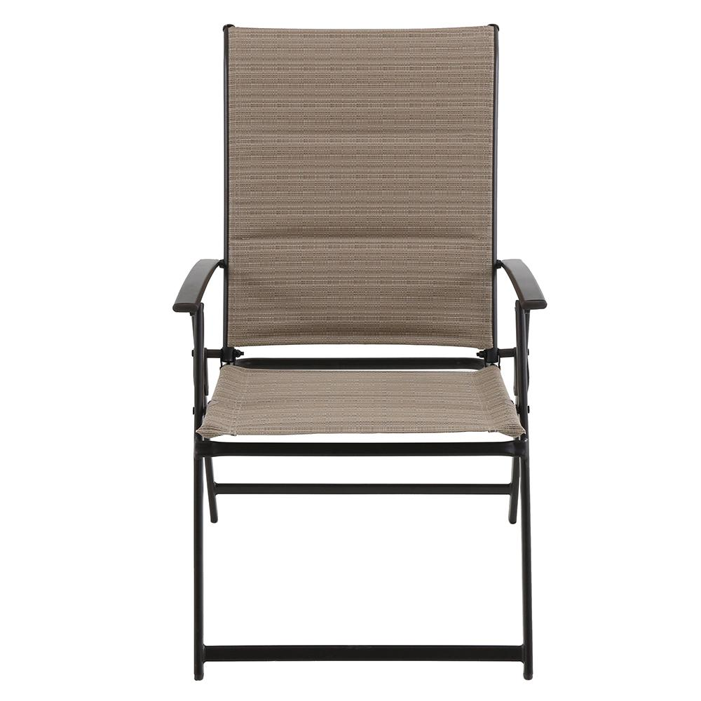 Terrific Hampton Bay Mix And Match Folding Steel Outdoor Patio Dining Chair In Cafe Tan Sling 2 Pack Bralicious Painted Fabric Chair Ideas Braliciousco