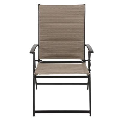 Mix and Match Folding Steel Outdoor Patio Dining Chair in Cafe Tan Sling (2-Pack)
