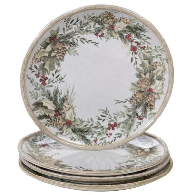 Holly and Ivy 4-Piece Multi-Colored 11 in. Earthenware Dinner Plate Set