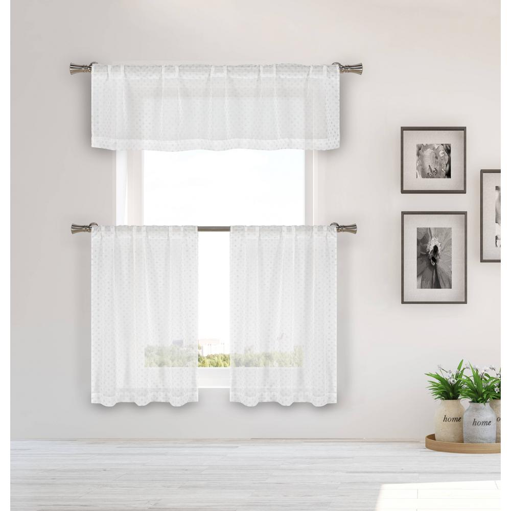 Home Maison Elara Champagne Gold Kitchen Curtain Set 56 In W X 15 In L In 3 Piece
