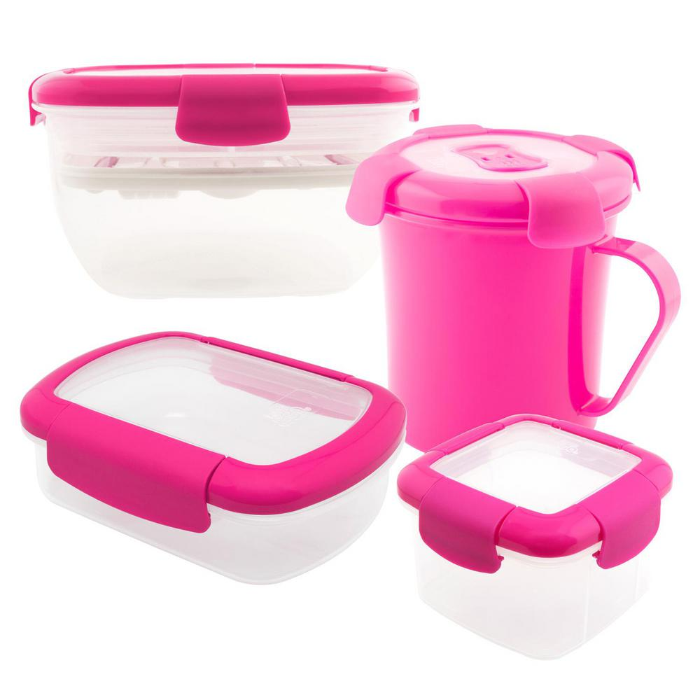 4-Piece Food Storage Container Assorted Pack in Pink