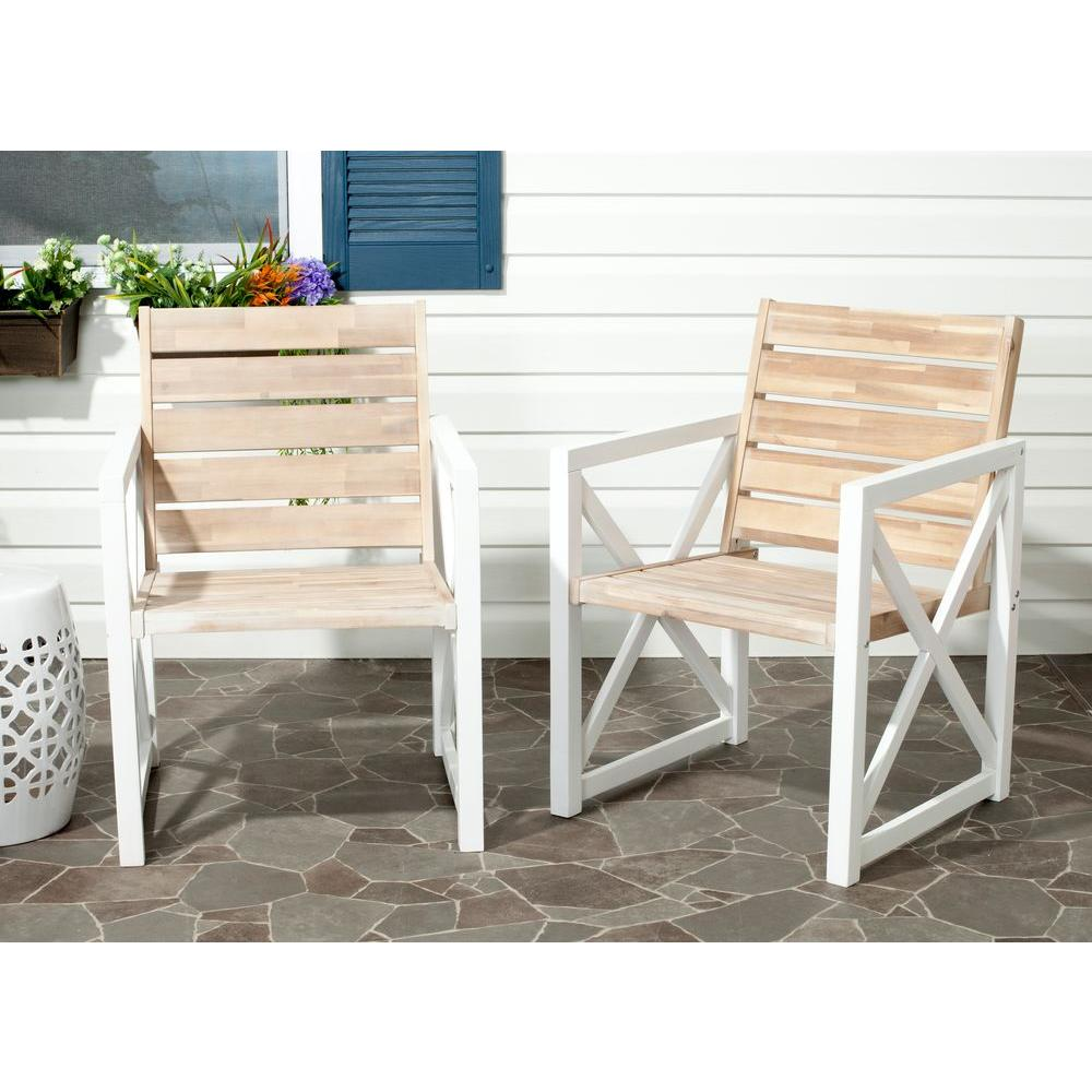 Safavieh Irina White/Oak Acacia Wood Patio Armchair (2 Pack)