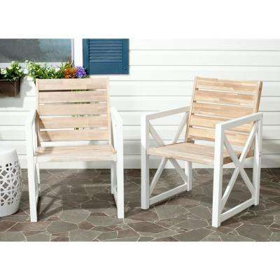 Irina White/Oak Acacia Wood Patio Armchair (2-Pack)