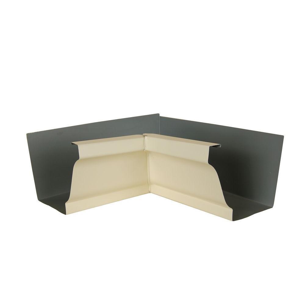 6 in. Heritage Cream Aluminum Inside Box Gutter Miter