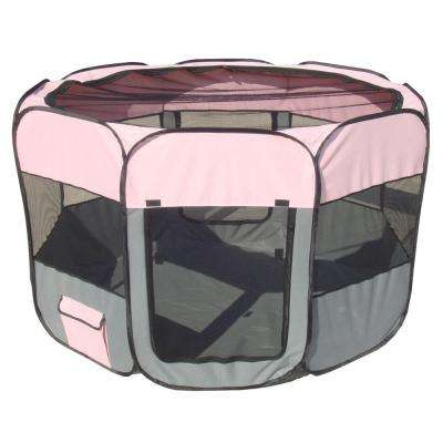 All-Terrain Lightweight Easy Folding Wire-Framed Collapsible Travel Dog Playpen in Pink/Grey
