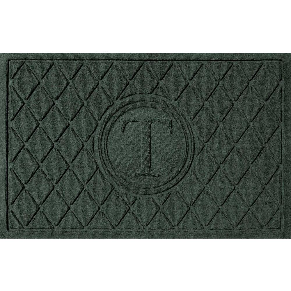 Bungalow Flooring Argyle Evergreen 24 in. x 36 in. Monogram T Door Mat