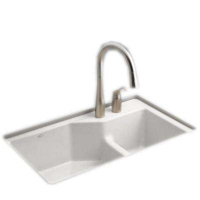 Indio Smart Divide Undermount Cast Iron 33 in. 2-Hole Double Bowl Kitchen Sink Kit in White