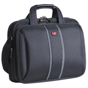 Double Compartment Black Briefcase with RFID Secure Pocket for 15.4 inch Laptop/Tablet by