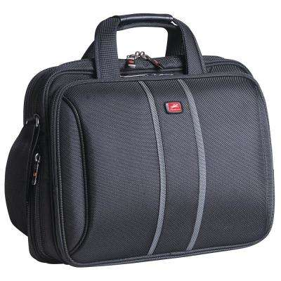 Double Compartment Black Briefcase with RFID Secure Pocket for 15.4 in. Laptop/Tablet