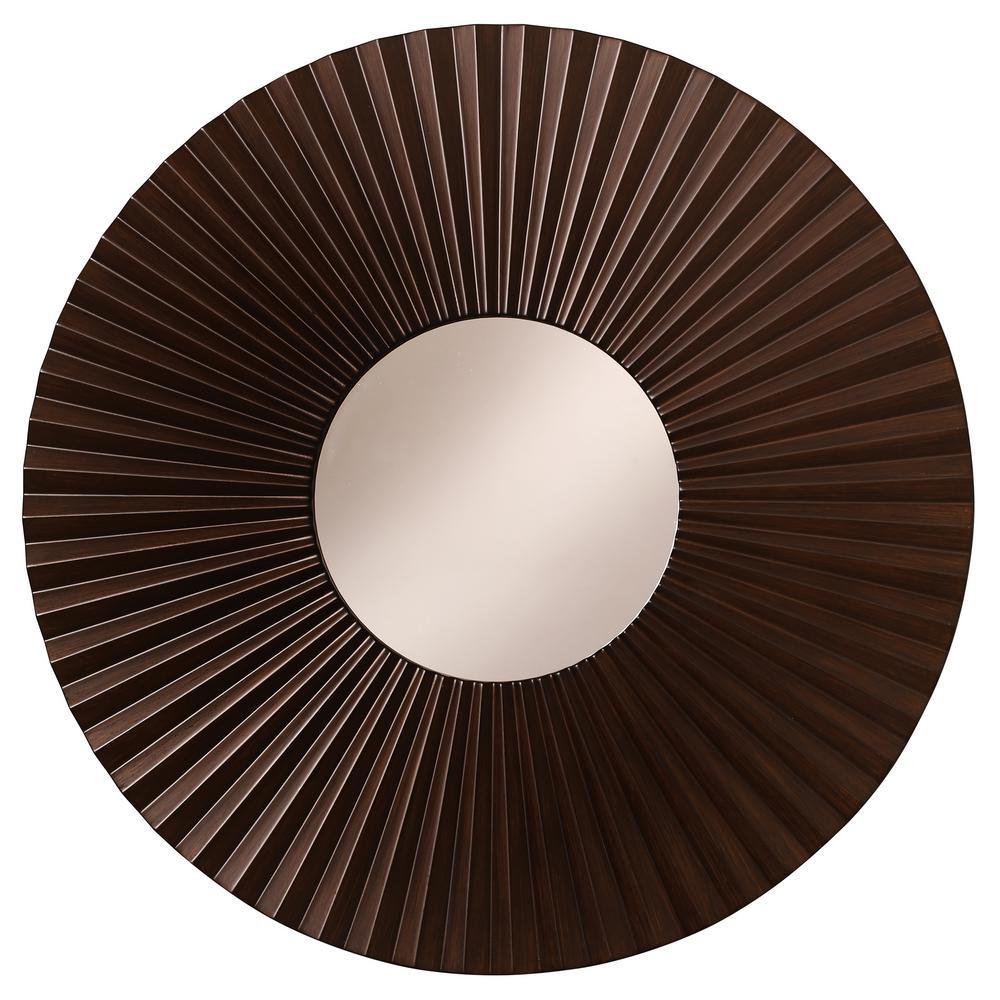 Medium Round Espresso Classic Mirror (24 in. H x 24 in. W)