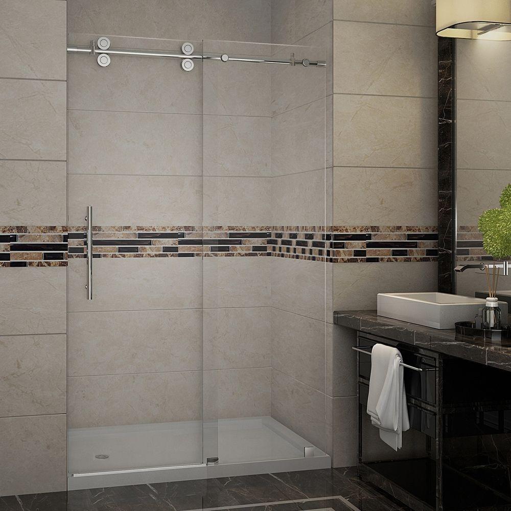 Langham 48 in. x 77.5 in. Completely Frameless Sliding Shower Door with Base and Left Drain in Stainless Steel
