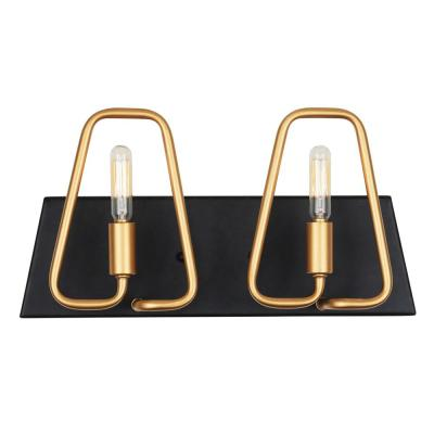 Triangulo 2-Light Aged Gold and Carbon Bath Light