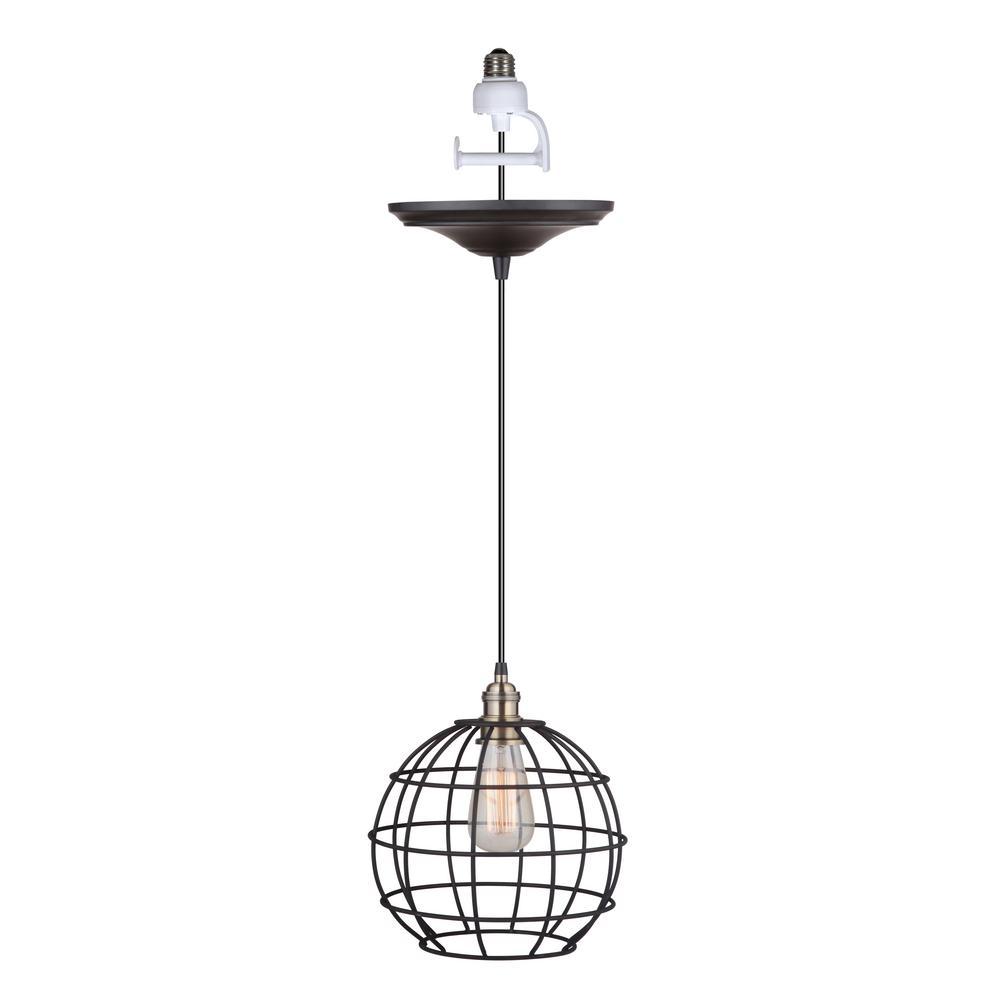 Worth Home Products Instant Pendant 1-Light Brushed Bronze and Brass Recessed Light Conversion Kit with Globe Cage Shade