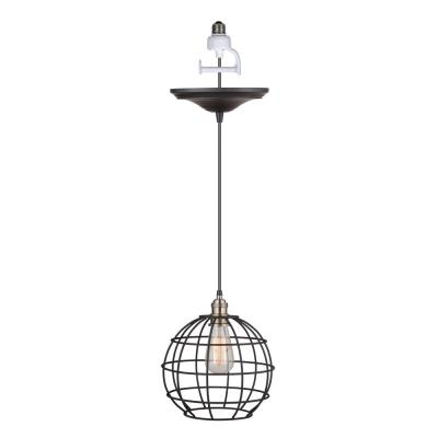 Instant Pendant 1-Light Brushed Bronze and Brass Recessed Light Conversion Kit with Globe Cage Shade