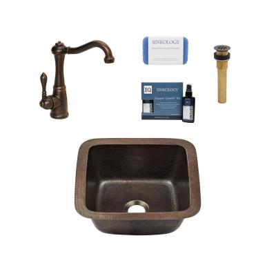 Pollock All-in-One Undermount Copper 12 in. 0-Hole Single Bowl Kitchen Sink with Pfister Faucet and Drain
