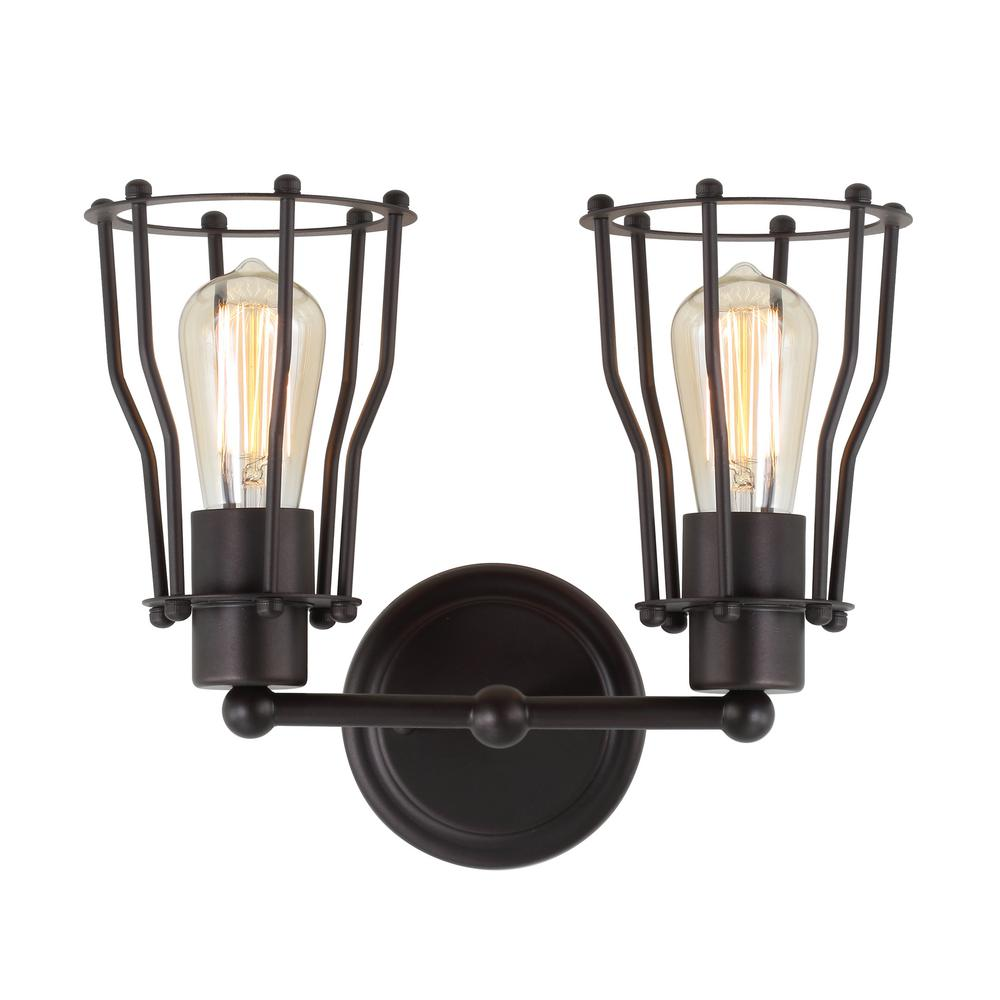JONATHAN Y Florence 12.5 in. 2-Light Metal Oil Rubbed Bronze Vanity Light