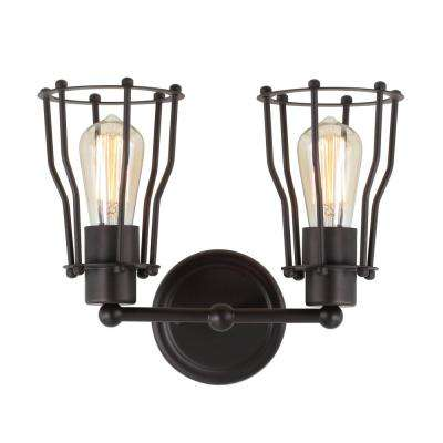 Florence 12.5 in. 2-Light Metal Oil Rubbed Bronze Vanity Light