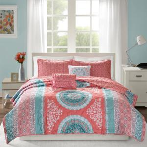 Eleni 4-Piece Coral Twin/Twin XL Medallion Coverlet Set