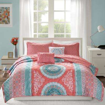 Eleni 5-Piece Coral Full/Queen Medallion Coverlet Set