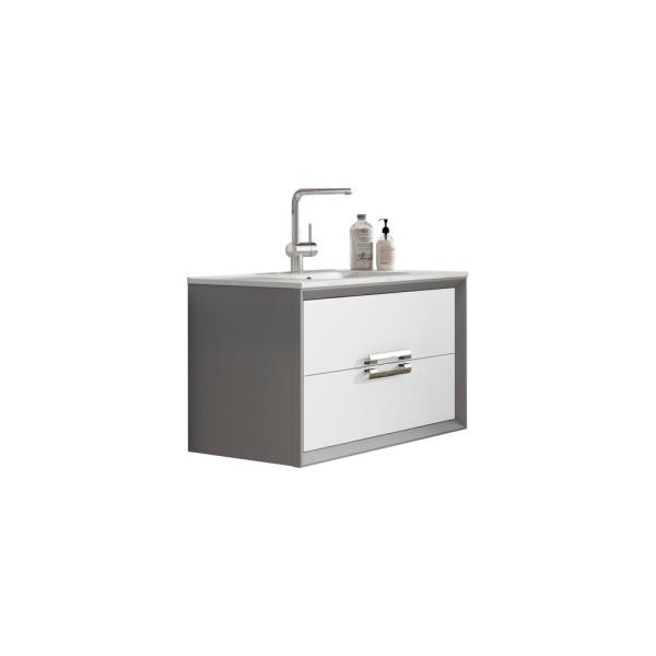 Decor 32 in. W x 18 in. D Bath Vanity in White and Silver with Ceramic Vanity Top in White with White Basin and Sink