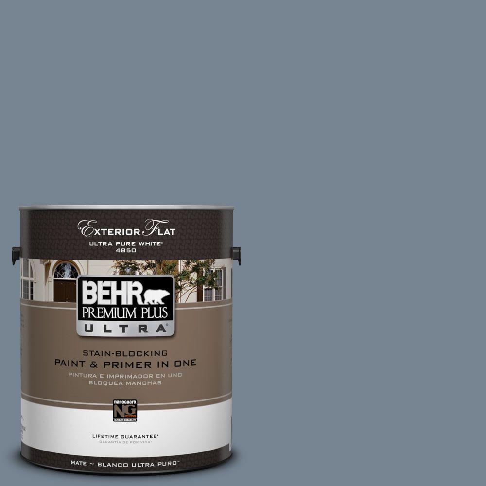 BEHR Premium Plus Ultra 1-Gal. #UL230-5 Forever Denim Flat Exterior Paint