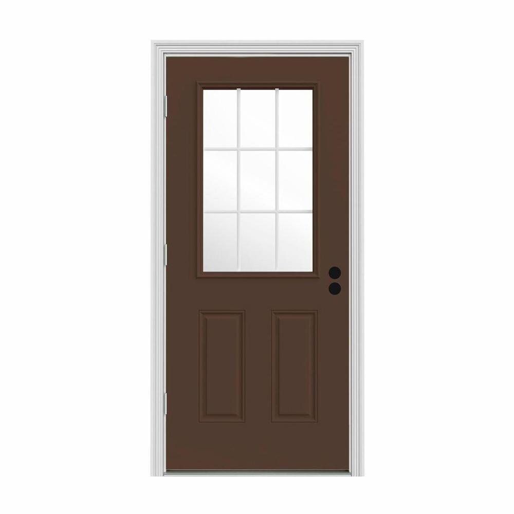 JELD-WEN 32 in. x 80 in. 9 Lite Dark Chocolate Painted Steel Prehung Right-Hand Outswing Front Door w/Brickmould