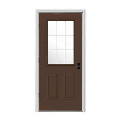 32 in. x 80 in. 9 Lite Dark Chocolate Painted Steel Prehung Right-Hand Outswing Front Door w/Brickmould