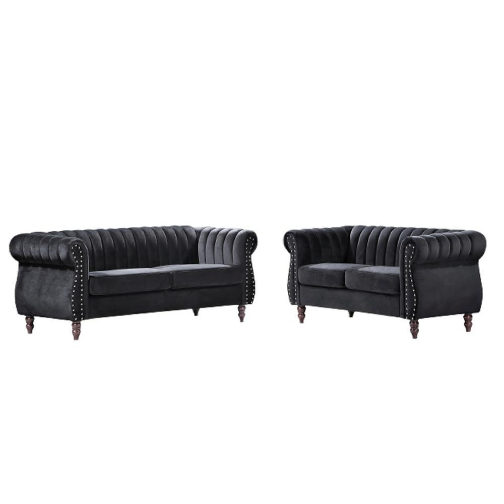 US PRIDE FURNITURE Louis Black Velvet Nailhead Living Room (Set) Sofa and Loveseat