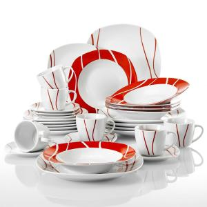 Felisa 30-Piece Modern Ivory White with Red Edge Polished Porcelain Dinnerware Set (Service for 6)