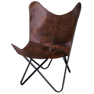 Brown Natural Leather Butterfly Chair