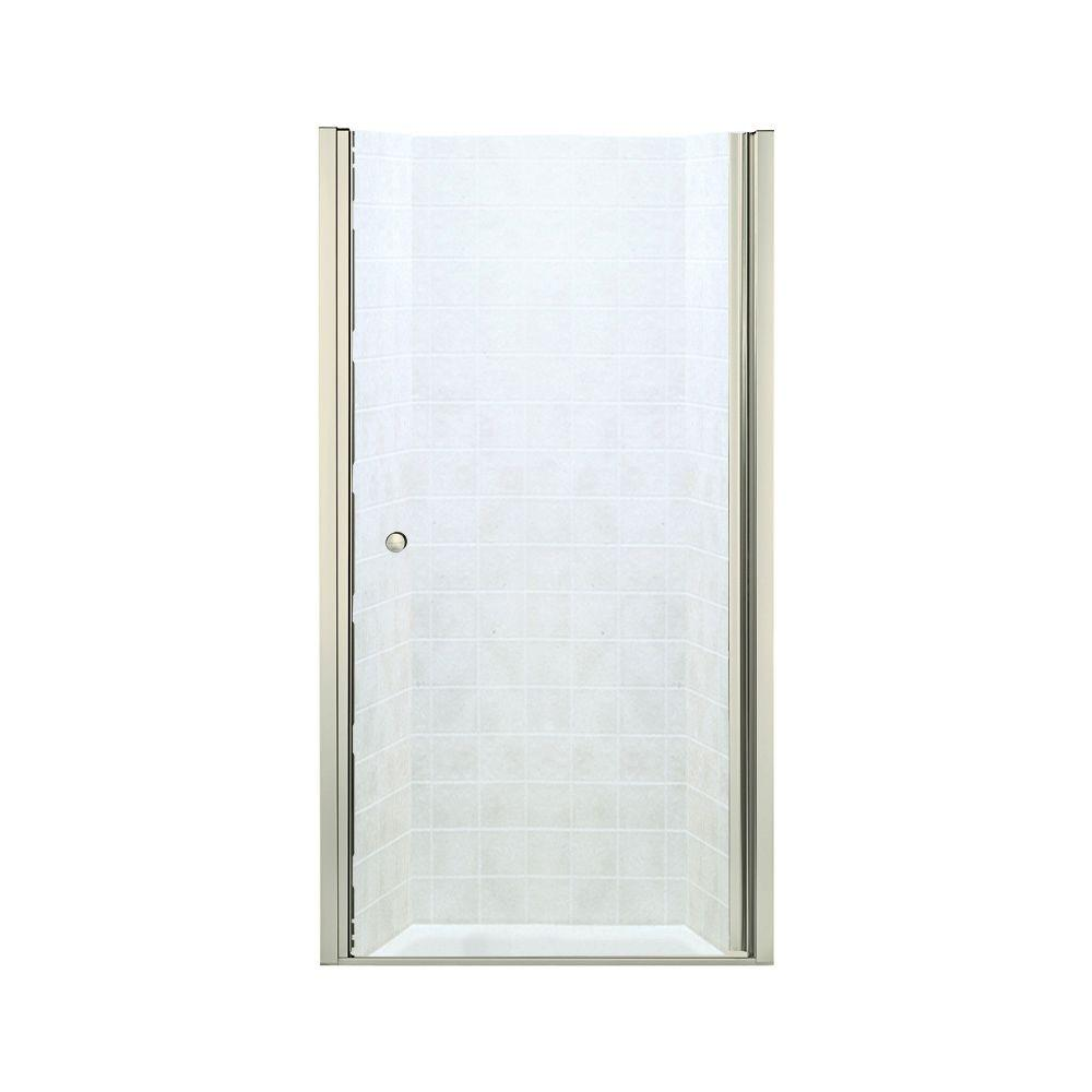 STERLING Finesse 37-3/4 in. x 65-1/2 in. Semi-Framed Pivot Shower Door in Nickel with Handle